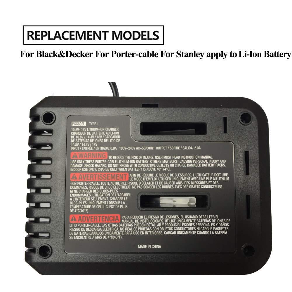 Cargador de batería de repuesto para Black Decker para Stanley para Porter- cable batería de iones de litio 10.8V-20V BDCAC202 PCC692L LB20 LBXR20: ...