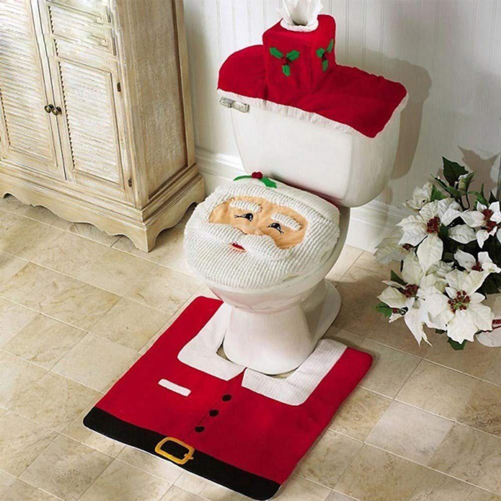 Christmas Toilet Lid Cover,Christmas Santa Claus Toilet Seat Cover Decoration for Home BIOSTON