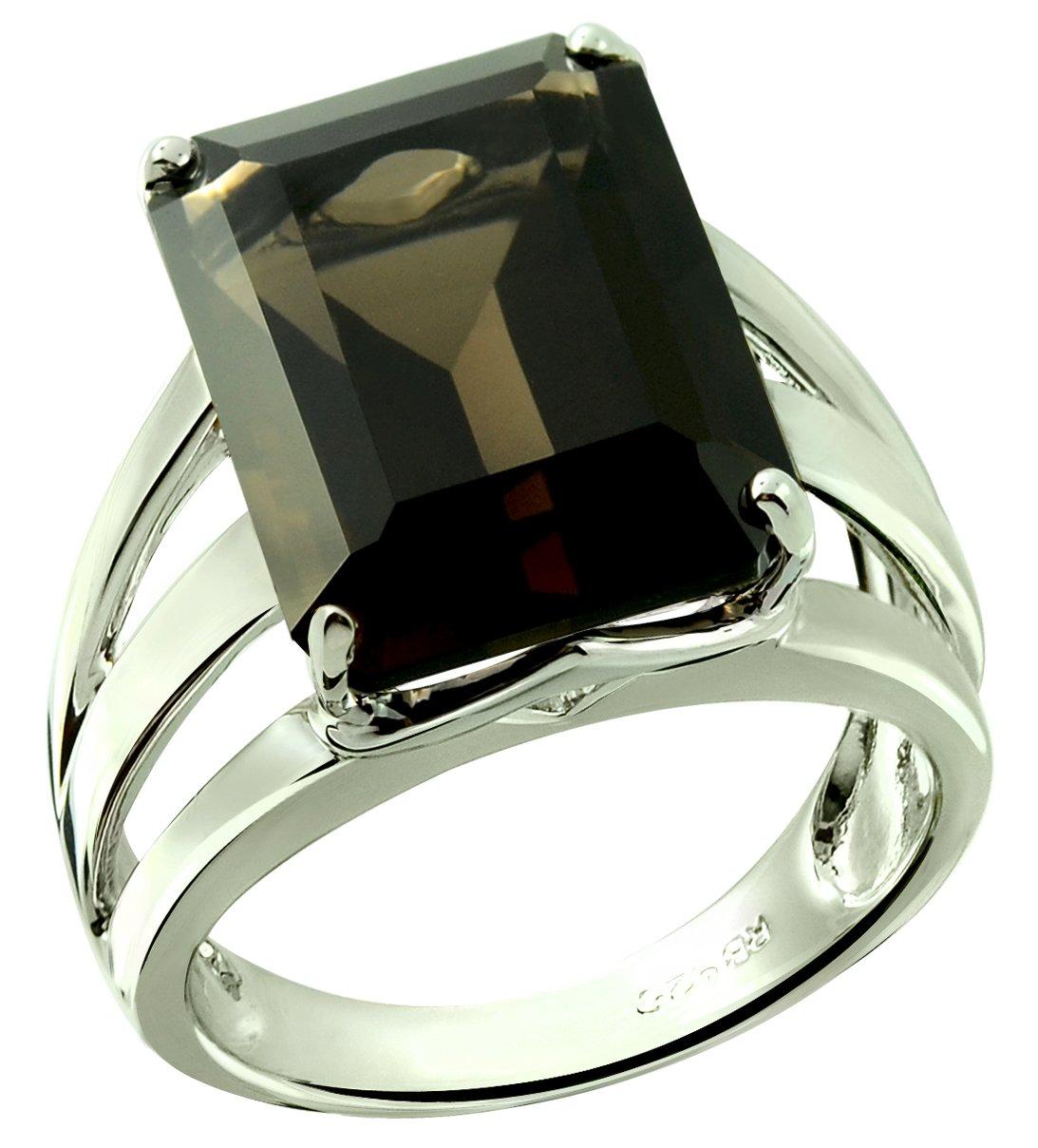RB Gems Sterling Silver 925 Statement Ring Genuine Gemstone Octagon 16x12 mm with Rhodium-Plated Finish (8, Smoky-Quartz)