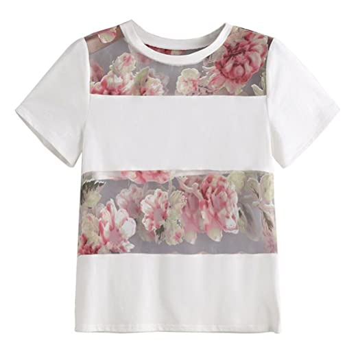 DondPO Womens Short Sleeve T Shirts Sexy Women Blouse Basic Tees Tops Women Summer White Flower