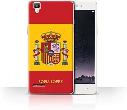 Personalizado Bandera Nacional Nación Personalizar Funda para el OPPO F1 / Español/De/España Diseño/Inicial/Nombre/Texto Carcasa/Estuche/Case: Amazon.es: Electrónica