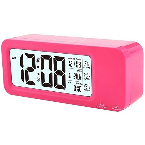 Wecker, LED wiederaufladbarer LCD Digital Alarm Wecker mit ...