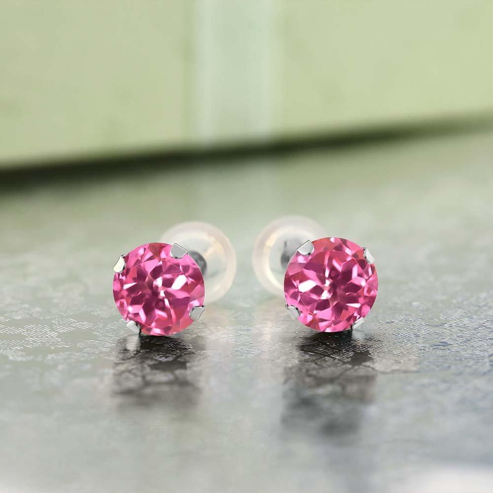 Gem Stone King 2.00 Ct Round 6mm Pink Mystic Topaz 14K White Gold Stud Earrings