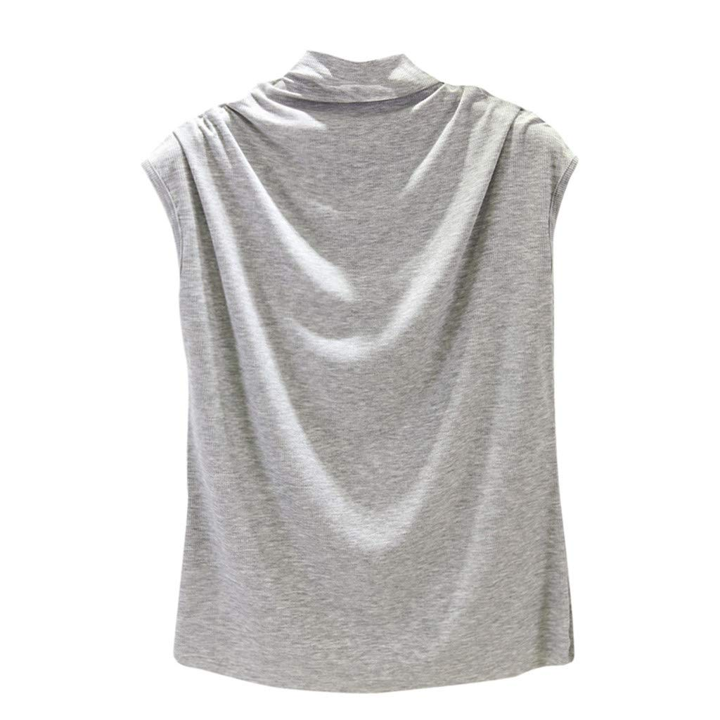 Libermall Women's Tank Tops Loose Fit Summer Solid Turtleneck Cotton Cami Vest Sleeveless Shirts Blouse Tops Gray
