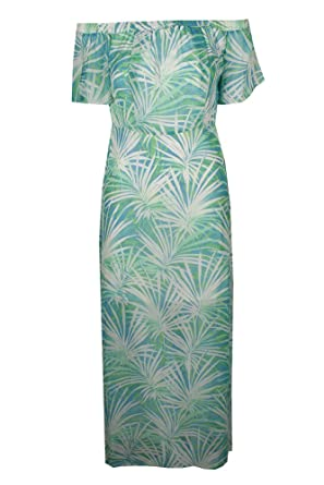 4161b745e646 Image Unavailable. Image not available for. Color  CeCe Green Blue White  Floral Print Off Shoulder Dress