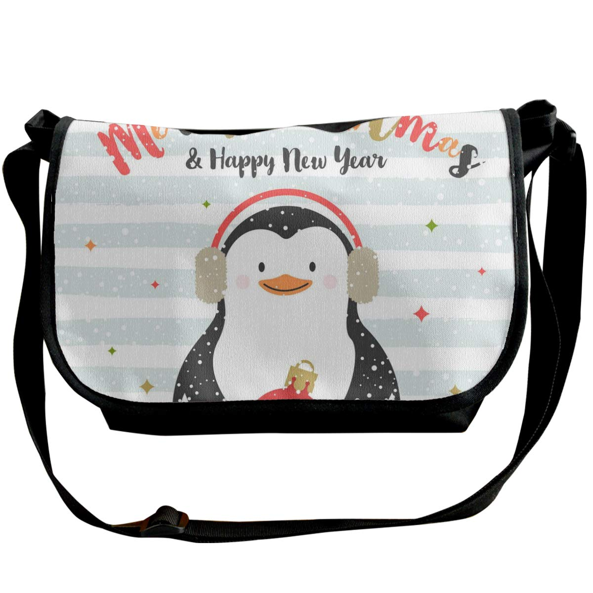 Taslilye Christmas Design With Penguin Vector Image Personalized Wide Crossbody Shoulder Bag For Men And Women For Daily Work Or Travel