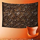 SOCOMIMI Wall Hanging 4002D Printing Tapestrywood thai pattern handmade wood carvings chiangmai thailand Wall Tapestry for Dorm Living Room Bedroom(80W x 59L INCH)