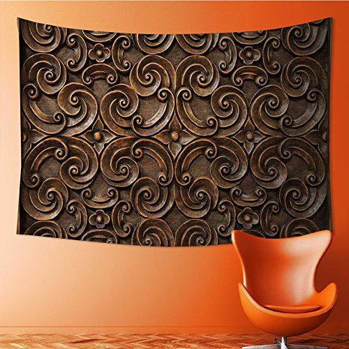 SOCOMIMI Wall Hanging 4002D Printing Tapestrywood thai pattern handmade wood carvings chiangmai thailand Wall Tapestry for Dorm Living Room Bedroom(80W x 59L INCH) by SOCOMIMI
