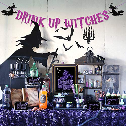 Halloween Bar Drinks (Bessmoso Halloween Drink Up Witches Banner Bar Sign Food Tent Label Drink Up Witches Decorations Kit for Witches Night Out Bachelorette Cocktail Party Tea Party Supplies)