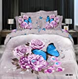 Queen Size 100% Cotton 4-pieces 3d Purple Roses Blue Butterfly Grey Prints Duvet Cover Set/bed Linens/bed Sheet Sets/bedclothes/bedding Sets/bed Sets/bed Covers/5-pieces Comforter Sets (4)