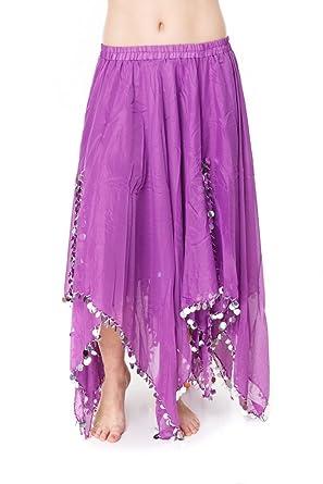 Turkish Emporium falda danza oriental (púrpura plateado): Amazon ...
