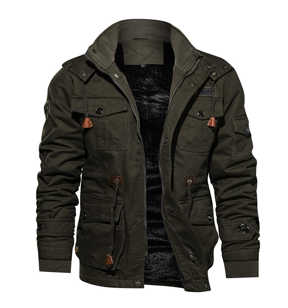TACVASEN Mens Casual Winter Cotton Military Jacket Thicken Hooded Cargo Coat TCTJ-148