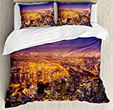 City Duvet Cover Set by Ambesonne, Cape Town Panorama at Dawn South Africa Coastline Roads Architecture Twilight, 3 Piece Bedding Set with Pillow Shams, King Size, Marigold Blue Pink
