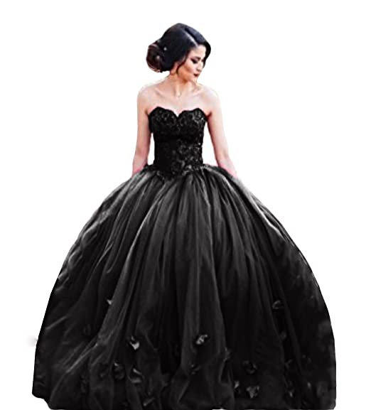 The Peachess Black Quinceanera Gown Basque Waist Backless Long Prom Dresses US2