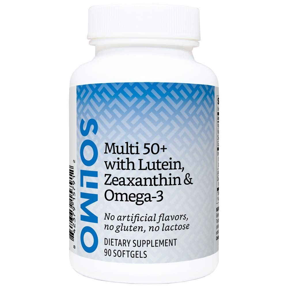 Amazon Brand - Solimo Adult 50+ Multi with Lutein, Zeaxanthin & Omega-3 - 90 softgels, Three Month Supply