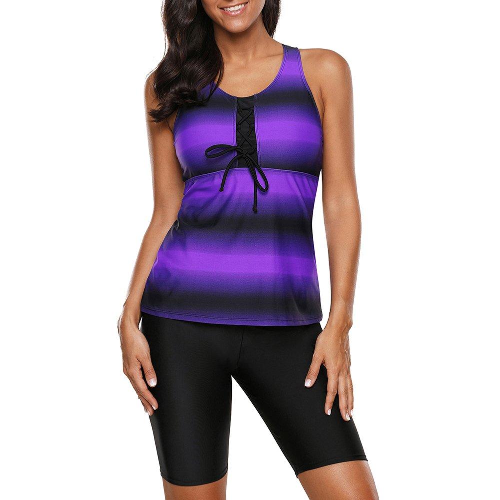 Ronda Ladies Vest Style Conservative Striped Swimsuit Suit Long Swimming Trunks with Boyshort Swimsuit Swimwear S-XXXL