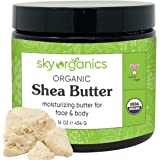 USDA Organic Shea Butter by Sky Organics (16 oz) 100% Pure Unrefined Raw African Shea Butter for Face and Body Moisturizing N
