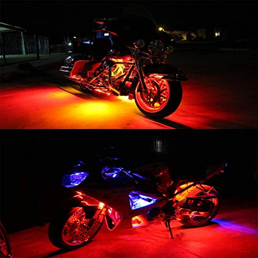 10Pcs RGB Neon Accent Glow Lights Flexible Lamp with Bluetooth Smartphone APP Controller for motorcycle. NBWDYs Motorcycle Atmosphere LED Light Strip Kit