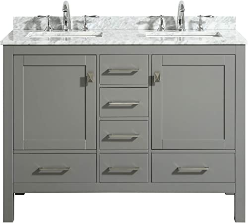 Eviva Aberdeen 48″ Gray Transitional Double Sink Bathroom Vanity w/White Carrara Top