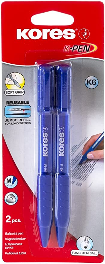 Soft-Grip Retractable Ball Point Biro Pens Black or Blue Medium 0.7mm Tip