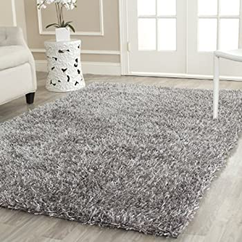Safavieh New Orleans Shag Collection SG531-8080 Grey Polyester Area Rug (5' x 8')