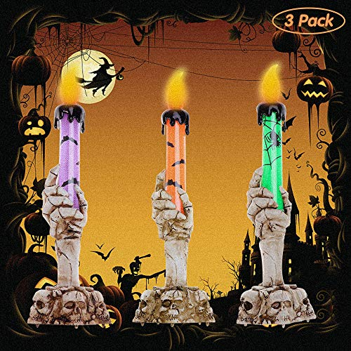 YBB 3 Pack Halloween Skull Candle Holder Light, Skeleton Ghost Hand Flameless Candle Lamp Party Bar Decoration Lamp (Green, Orange, Purple) ()