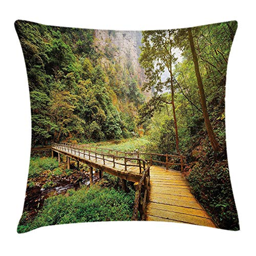 (liu xiong Landscape Throw Pillow Cushion Cover, Wooden Bridge Over Mountain River Trees Rocks in Zhangjiajie Forest Park, Decorative Square Accent Pillow Case, 18 X 18 Inches, Green and)