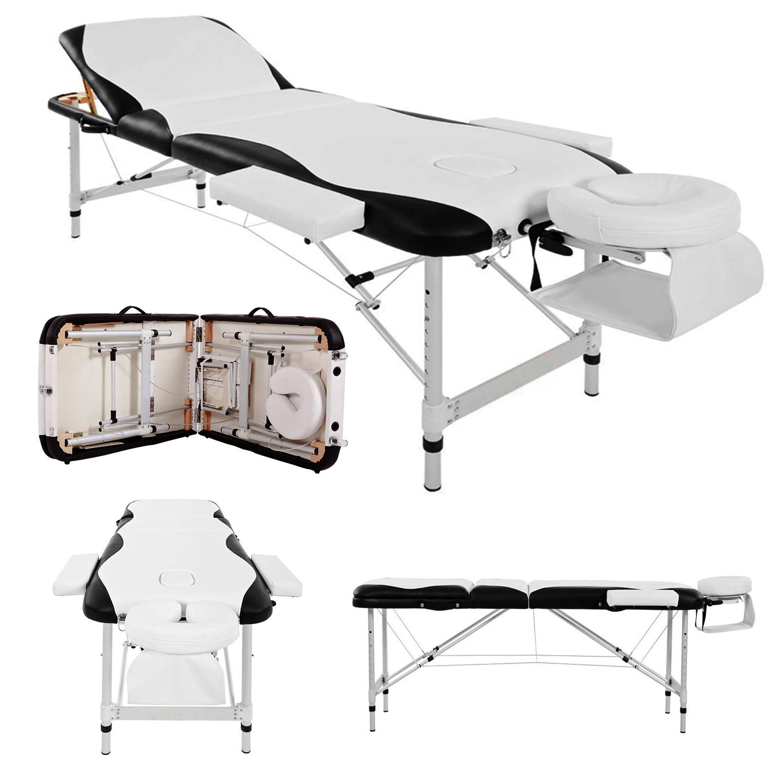 Fine Massage Table Couch Bed Aluminium Deluxe Lightweight Professional Beauty Tattoo Spa Reiki Portable Folded 3 Section With Premium Pu Leather Foam Home Interior And Landscaping Eliaenasavecom