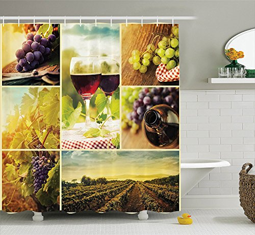 [Home Decor Collection Rustic Style Collage of Wine Glass Grapes and Vineyard Qualified Harvest Village Picture Art Polyester Fabric Bathroom Shower Curtain Set with Hooks Green] (Grape Vine Halloween Costume)