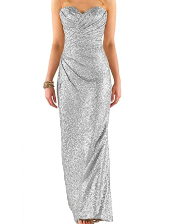 Cdress Sequins Long Bridesmaid Dresses Sweetheart Evening Gowns Strapless Prom Dress Silver US 14