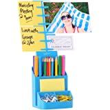 NoteTower Desktop Organizer Blue - Sticky Note Holder & Office Supplies Caddy - Displays Photos, Sticky Notes, Business Cards & Holds Pens & Pencils + BONUS 50 Sheets 3x3 Sticky Notes