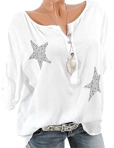 riou Blusa de Gasa Mujer Elegantes Tamaños Grandes Floral Manga Larga Túnica Otoño Camisa Jersey Modelo de Moda Tops para Mujer Blusas sin Mangas Primavera: Amazon.es: Ropa y accesorios