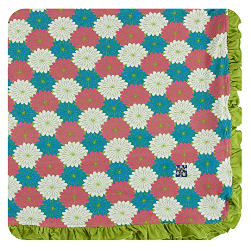 Kickee Pants Little Girls Print Ruffle Toddler Blanket - Tropical Flowers, One Size