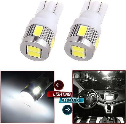 cciyu 2x T10 Wedge 12V Super Bright 5730 6 SMD 194 168 2825 White LED Light Bulb Lamp