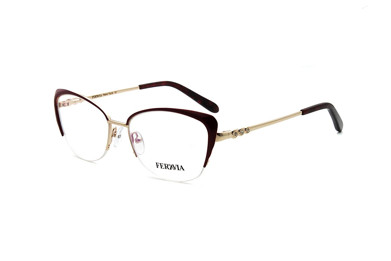 Fashion Women Cat Eye Metal Half Frame Glasses FVG7001 (Wine) Global Glasses Studio
