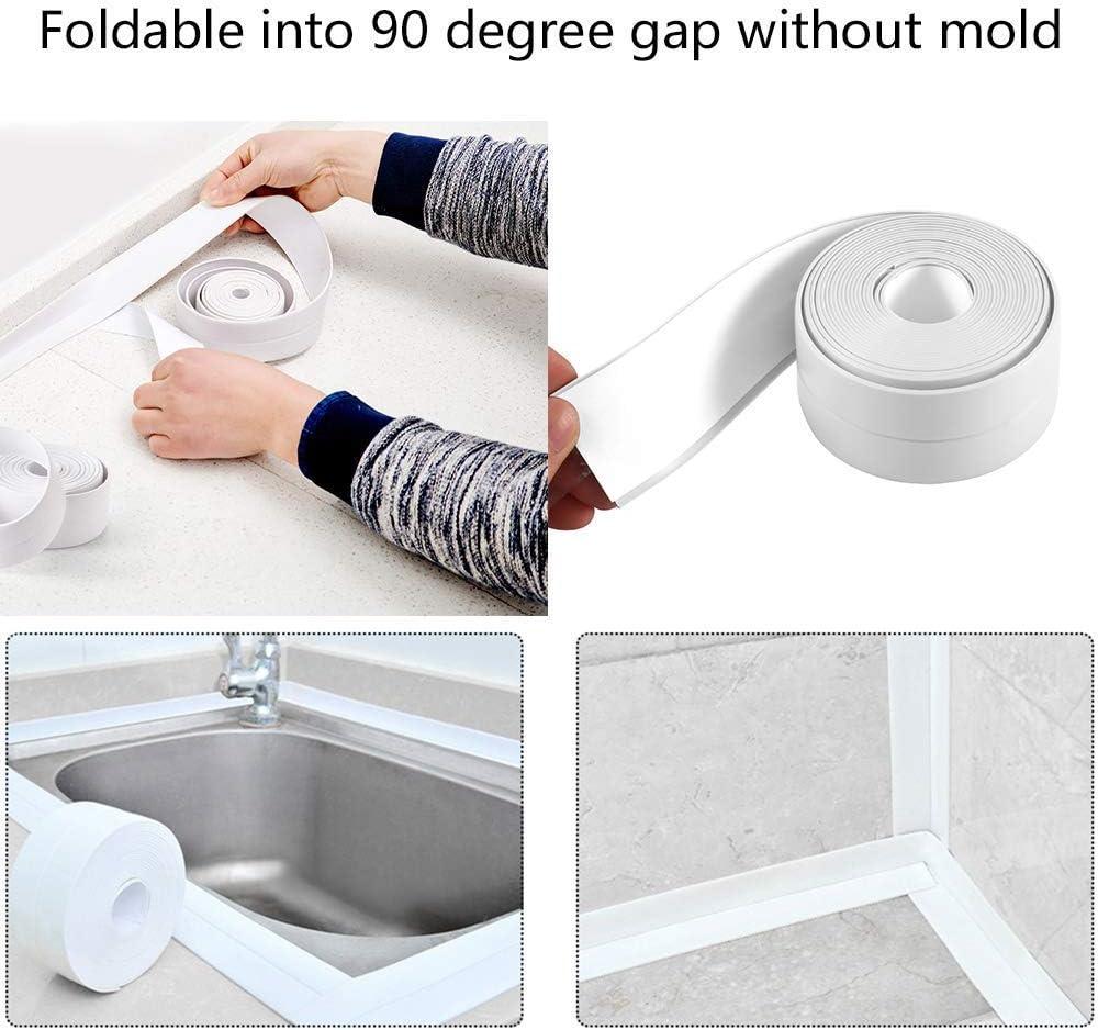 Wei/ß Selbstklebende Dichtband,Wasserdichtes klebeband,Auf die k/üche//toilette//badezimmer in der ecke.Verhindert dass Feuchtigkeit und verhindert Schimmel 1 Rollen