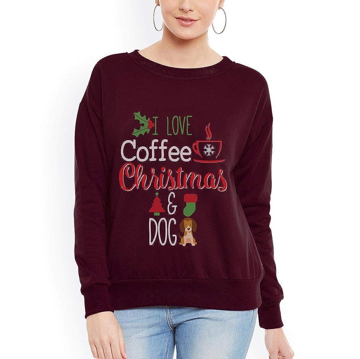 I Love Coffee Christmas and Dog Holiday Women Sweatshirt tee