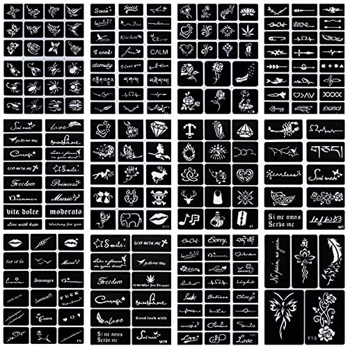 Oruuum 12 Style Indian Temporary Tattoo Template, Inkjet Tattoo Template, Tattoo Template, Body Painting Hollow (12Pcs). from Oruuum