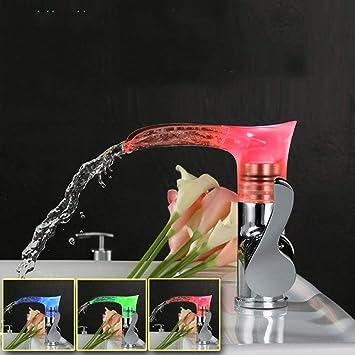 Waschtischarmatur Wasserfall LED Mischbatterie Bad Einhandlmischer Waschbecken