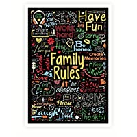 Lab No. 4 Our Family Rules Inspiring Words Collage Typography Wall Art Poster