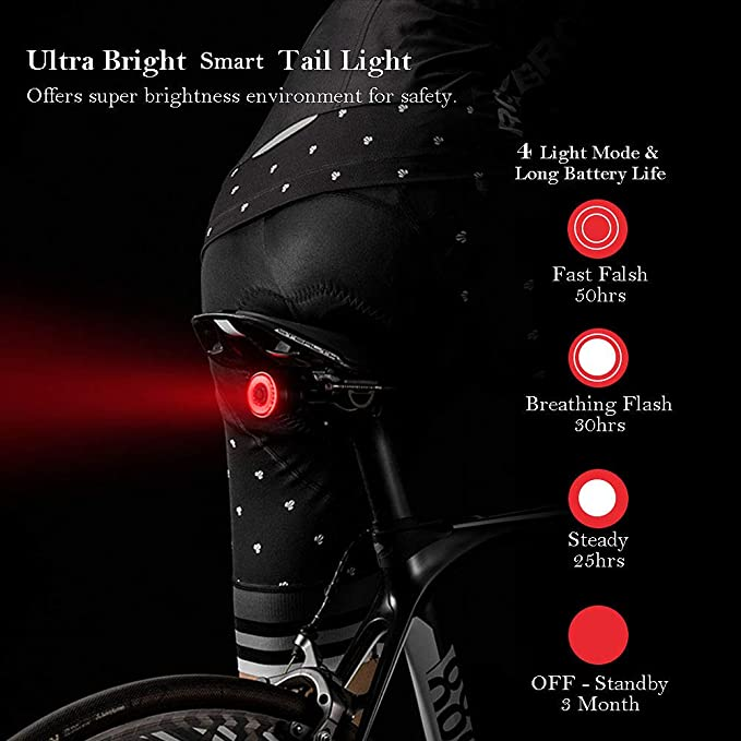 luz de Freno con Sensor Inteligente IPX6 l/ámpara Impermeable para Bicicleta Kohyum Luz Trasera de Bicicleta Luz Trasera LED Inteligente Recargable por USB luz Trasera de Advertencia Nocturna