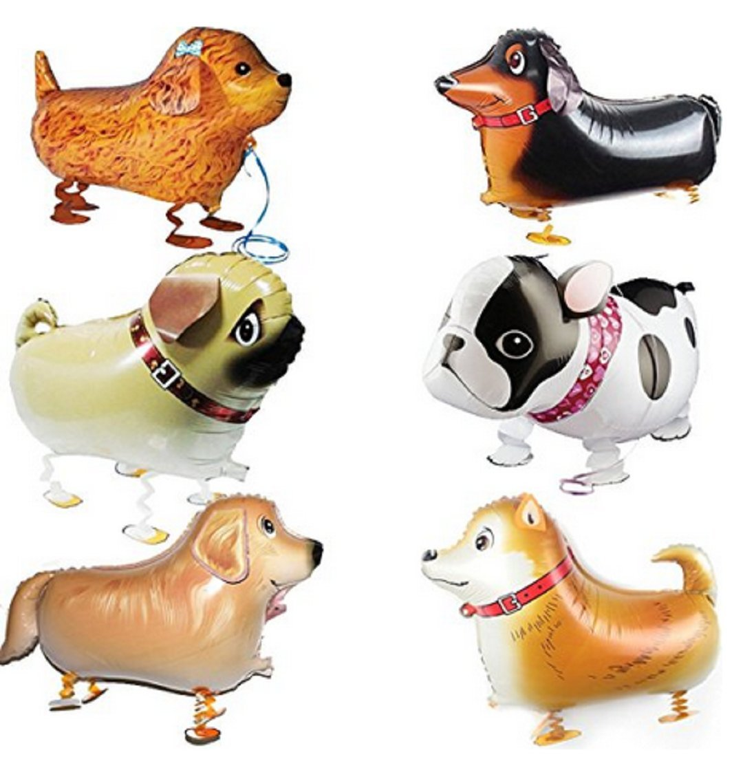 Wendingstan Walking Animal Balloons Pet Dog balloons - 6pcs Puppy Dogs Birthday Party Supplies Kids Balloons Animal Theme Birthday Party Decorations