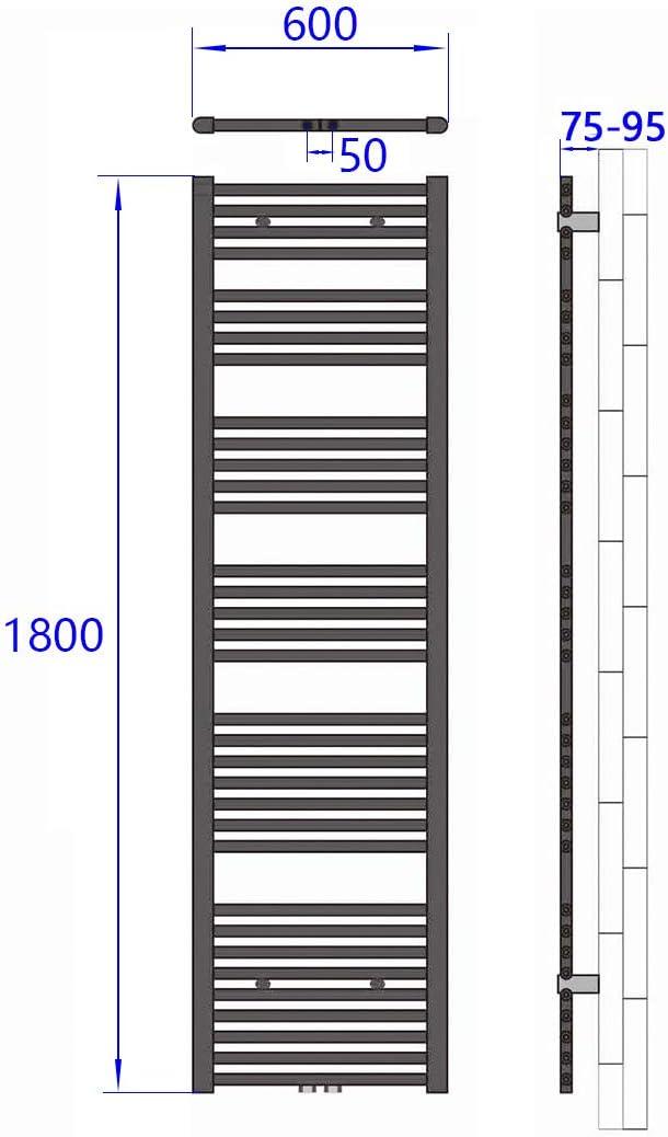 WELMAX Badheizk/örper Antrazit Handtuchtrockner Heizung 1200 x 600 mm Bad Heizk/örper Handtuchheizk/örper Mittelanschluss Handtuchw/ärmer