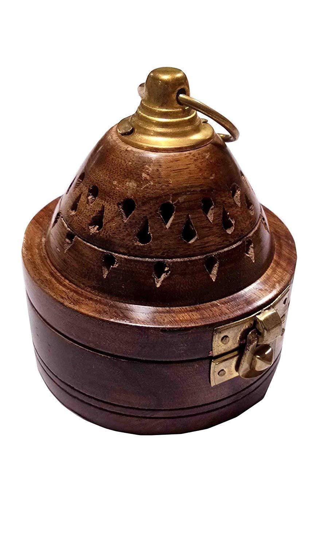 Porte-encens en bois, base ronde avec brûleur d'encens de forme de cône, or manipulé avec serrure loobdhan, 3,5 * 4 * 3,5 pouces, jour de Pâques / fête des mères / cadeau du Vendredi saint IndiaBigShop