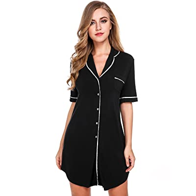 3ff560763e7be Sweetnight Women Short Sleeve Nightgown Button Front Boyfriend Sleep Shirt  Pajamas Lounge Sleepwear Maternity S-XXL