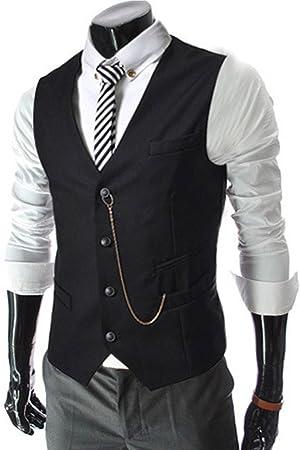 S&S Men's Premium V-neck Sleeveless Business Dress Suit 4 Button Vests With Pocket Plus Size