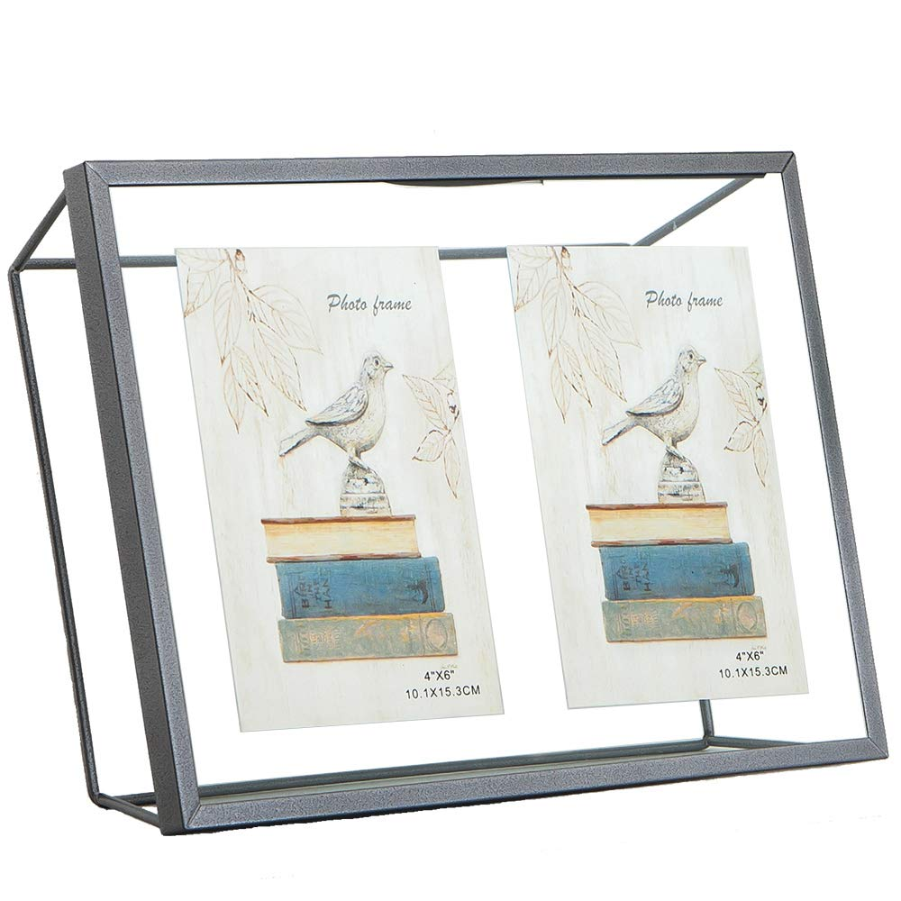 Popilion Contemporary Silver Metal Collage Picture Frames, Glass Floating Photo Frame Display 2 4x6 Photo Frame On The Desktop