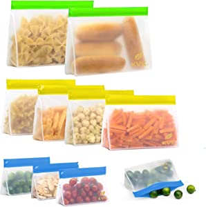 Reusable Storage bags (10Pack), 4 Ziplock Sandwich Bags + 4 Reusable Snack Bags + 2 Leakproof Reusable Gallon Bags, BPA-Free Freezer Ziplock Lunch Bags Leakproof Reusable Food Bags