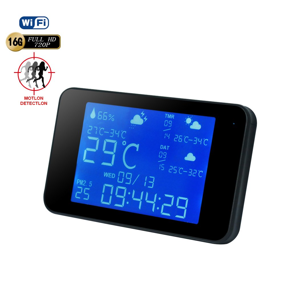 Hidden Camera WiFi Weather Station Clock-BSTCAM Wireless Weather Station clock camera 1080P Wifi Night Vision Hidden Spy Nanny IP Weather Station Video Recorder support 64GB SD Card[Not Included]
