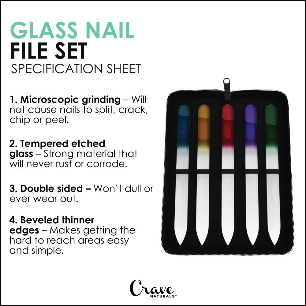 Amazon.com : Glass Nail File Set With Case - Long Lasting Manicure ...